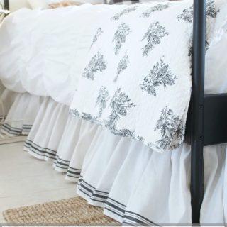 A tea towel fabric bedskirt
